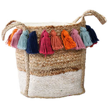 Multicolor Jute Braided Basket