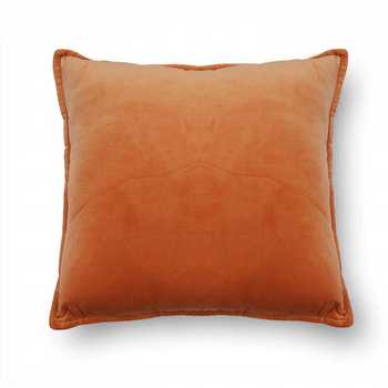 Orange Plain Chenille Cushion Cover