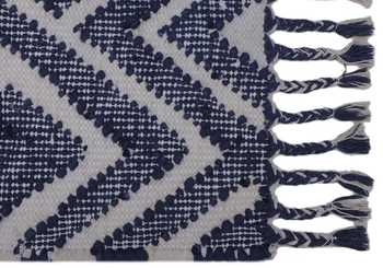 Blue/Ivory Wool Cotton Rug