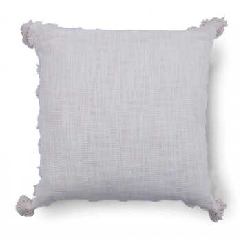 Ivory Tufted Cushion Cover with Tassels