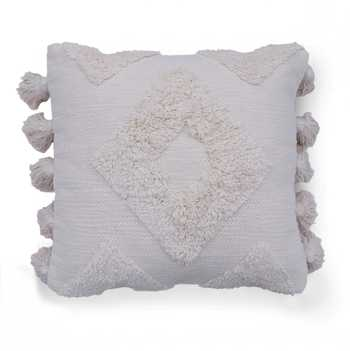 Ivory Cotton Hand Tufted Cushion Cover with Tassels