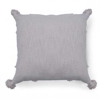 Ivory Slub Tufted Cushion Cover with Tassels